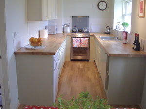 The kitchen in Marie Cottage Gullane